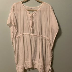 White sheer bathing suit cover up